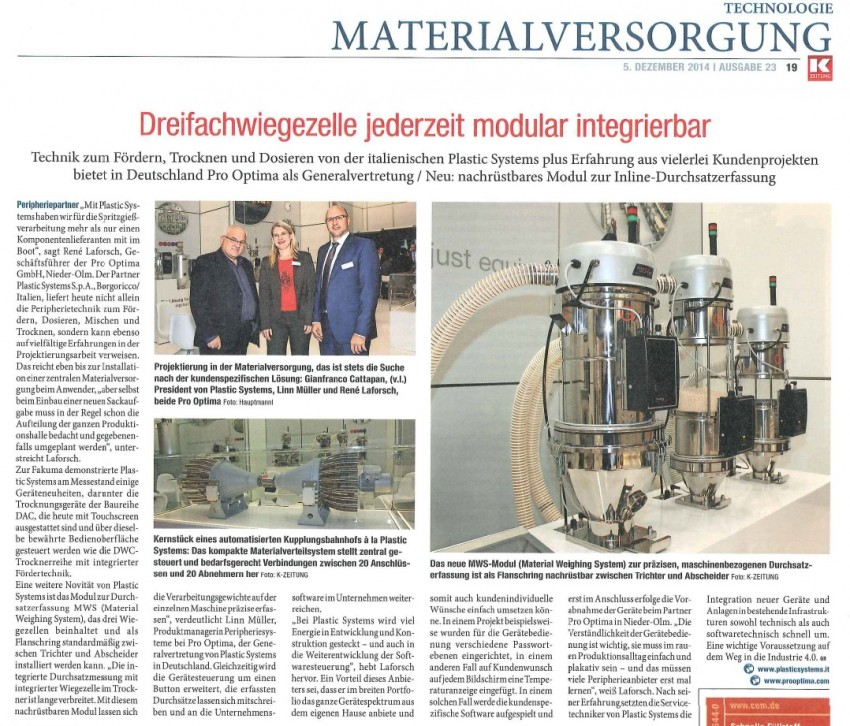 Plastic Systems special interview for K-ZEITUNG
